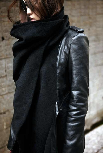 Black Scarf Leather Jacket